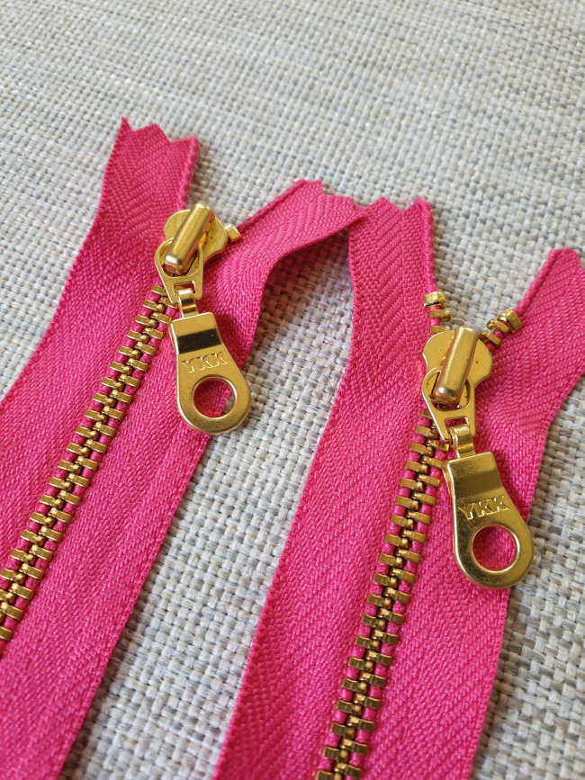 YKK Metal Zip Hot Pink with Gold Donut Pull - Colour 516