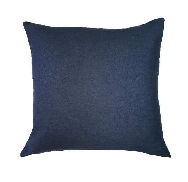 Soft Blue Indigo Linen Indoor Cushion Coverr