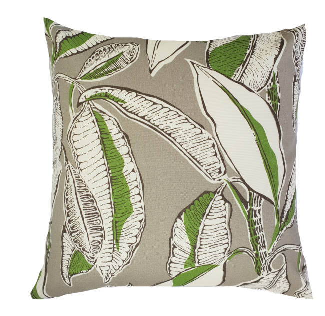 Tropical Jungle Leaves Grey Indoor/Outdoor Cushion Cover
