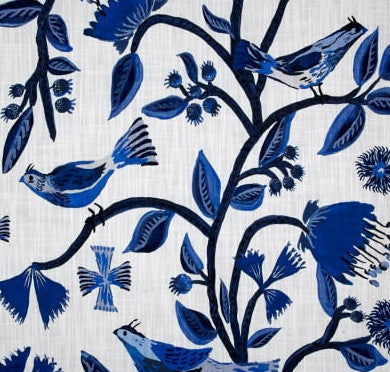 Crisp Blue and White Birds of Eden Indoor Cushion Cover