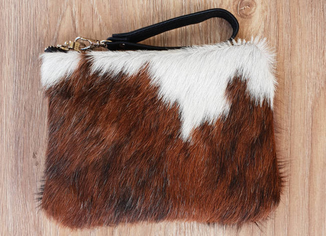 Brown and white Brindle cowhide mini clutch