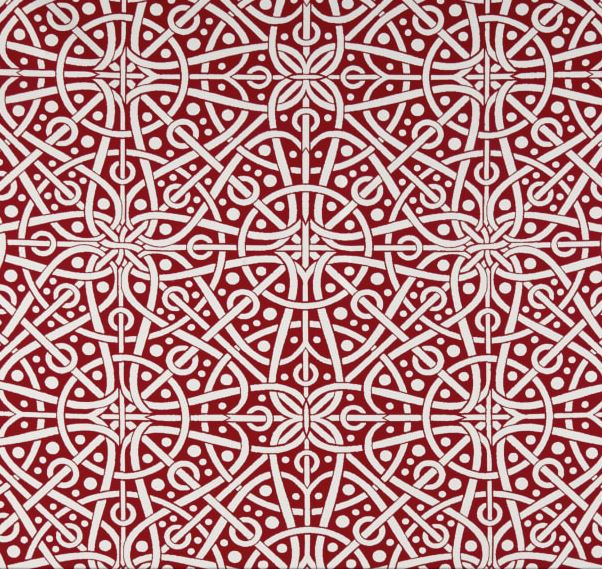 Red and White Tribal Circles Outdoor Cushion Cover