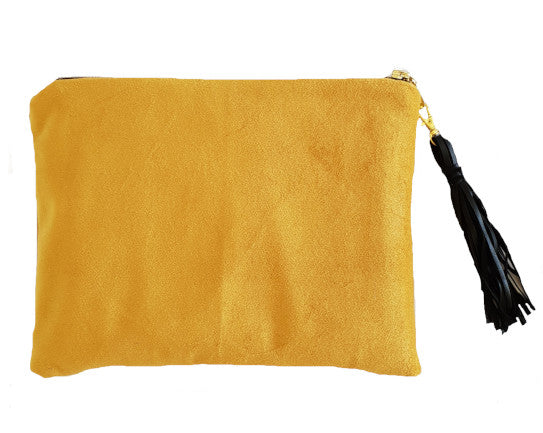 Mustard Velvet Clutch with Tassel