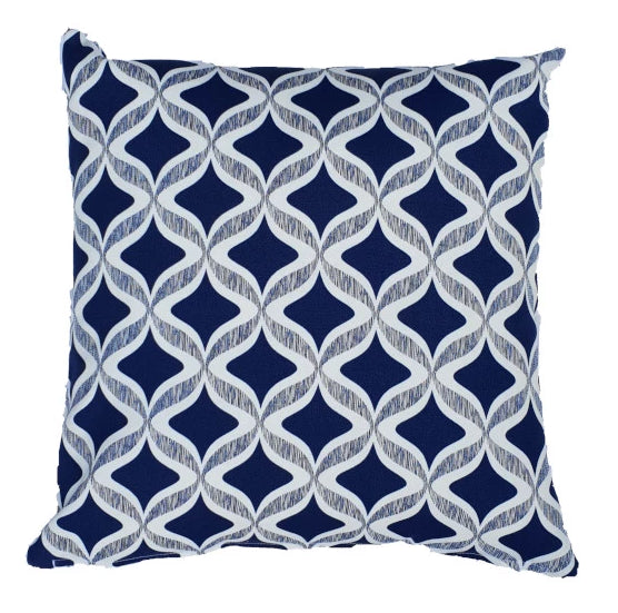 Navy-Blue and White Diamond Outdoor Cushion Cover