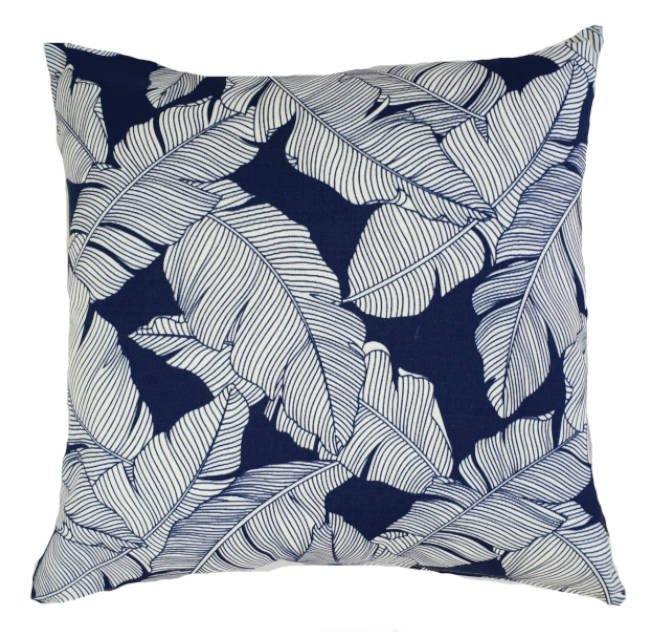 Navy Blue Palm Leaves Outdoor Cushion Cover