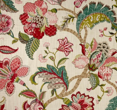 Raspberry Jacobean Floral Indoor Cushion Cover