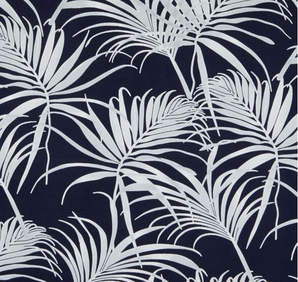 Navy and White Palms Outdoor Cushion Cover