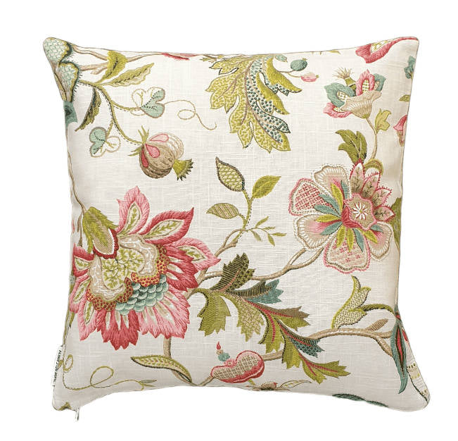 Raspberry Green Jacobean Floral Indoor Cushion Cover