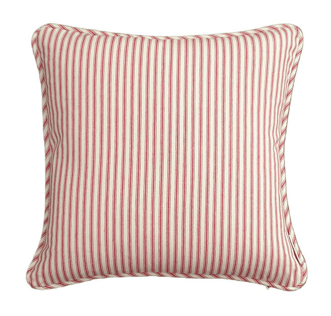 Raspberry Ticking Stripe Indoor Cushion Cover
