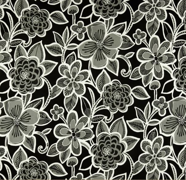 Bold Black and White Flowers Outdoor Cushion Cover