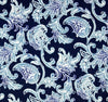 Blue Hamptons Style Paisley Floral Indoor Cushion Cover