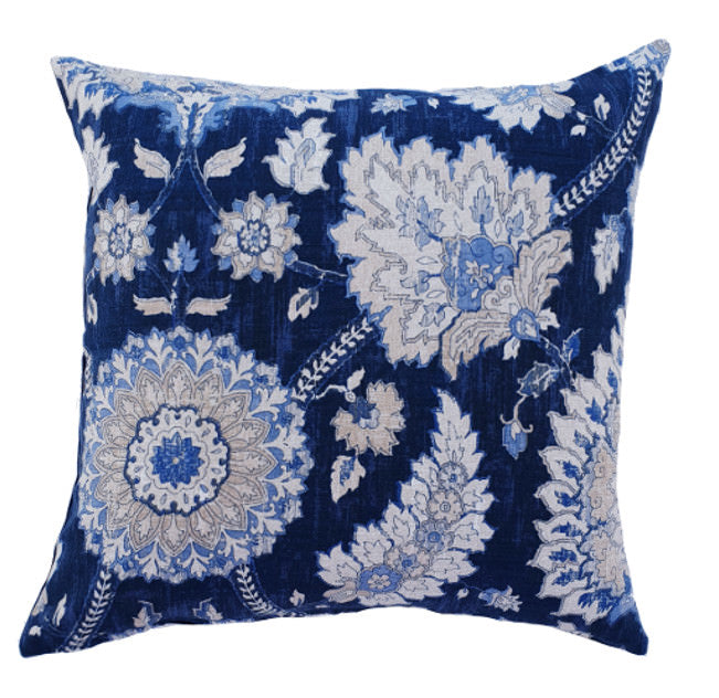 Royal Blue Damask indoor cushion cover
