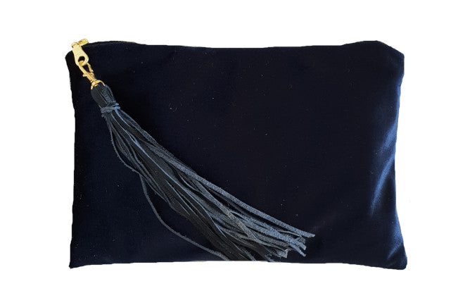 Royal Blue Velvet Clutch with Tassel
