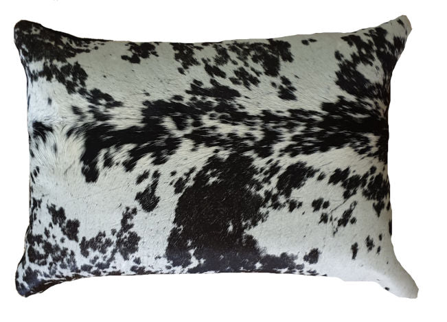 Salt and Pepper Cowhide Cushion Cover Lumbar 35cmx50cm