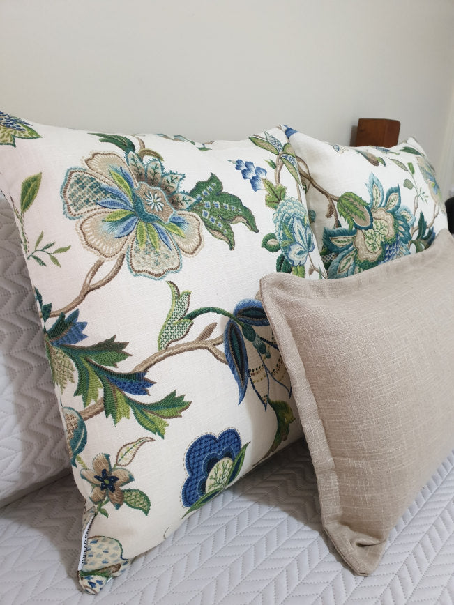 Sapphire Blue Green Jacobean Cushion Collection