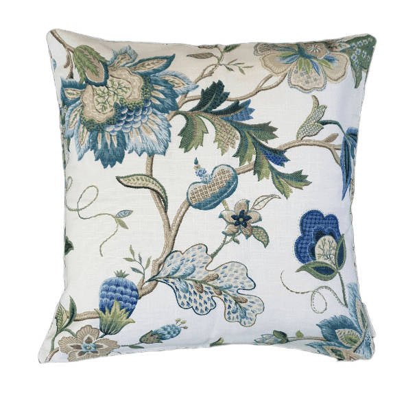 Sapphire Blue Green Jacobean Floral Indoor Cushion Cover