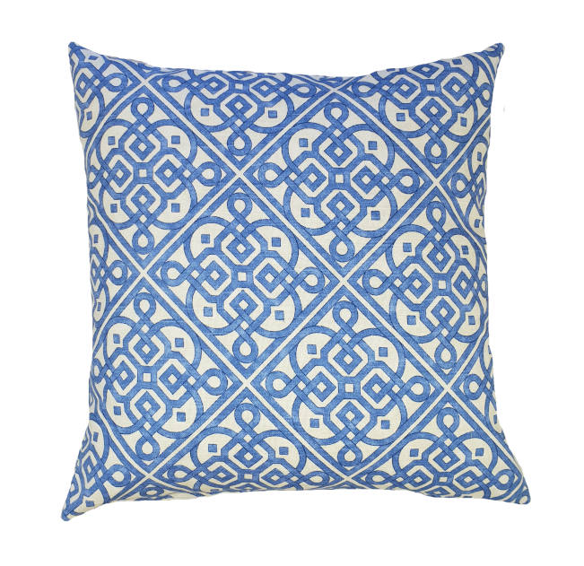 Sea Blue Hamptons Geometric Indoor Cushion Cover