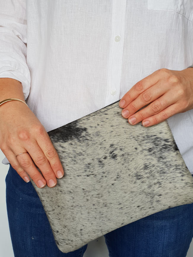 Black and Silver Cowhide Clutch