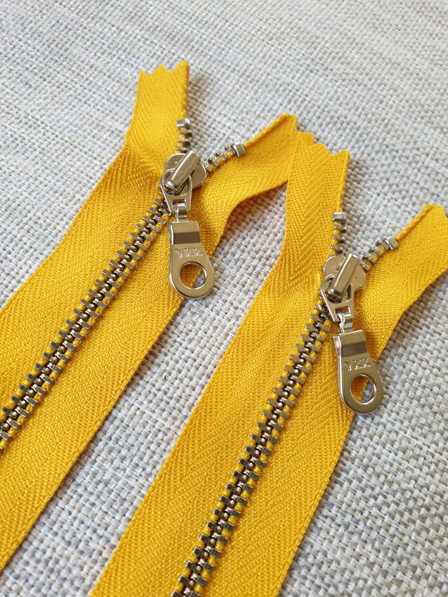 YKK Metal Zip Sunflower Yellow with Silver Donut Pull - Colour 506