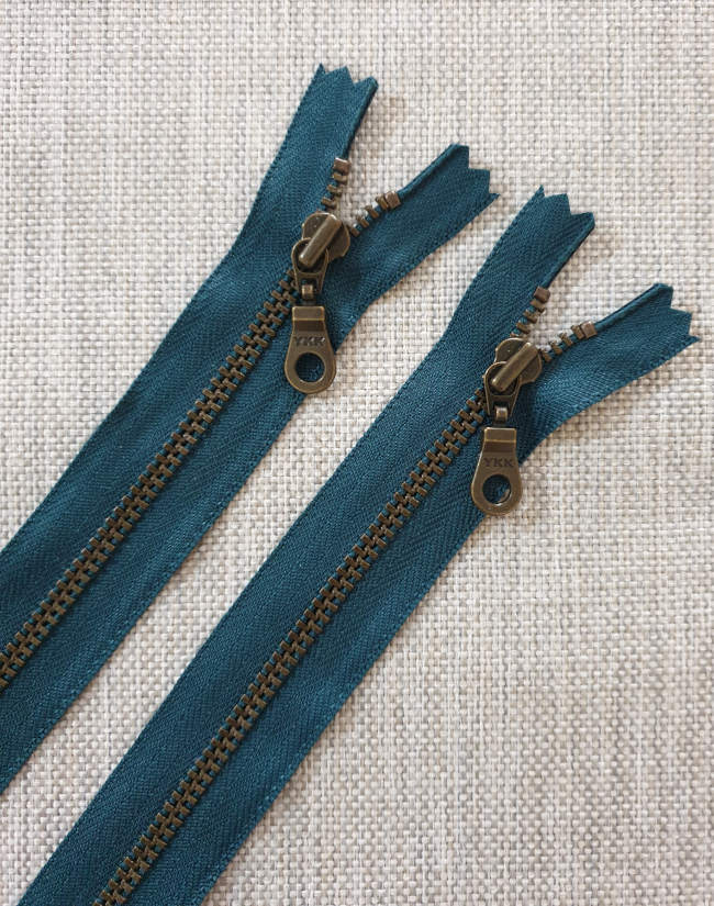 YKK Metal Zip Teal with Bronze Donut Pull - Colour 390