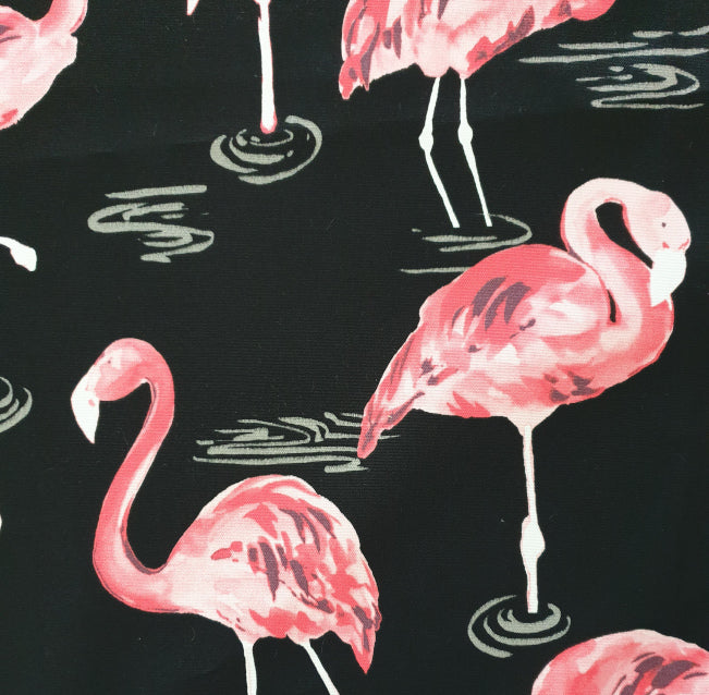 Black and Pink Flamingo Outdoor Cushion Cover