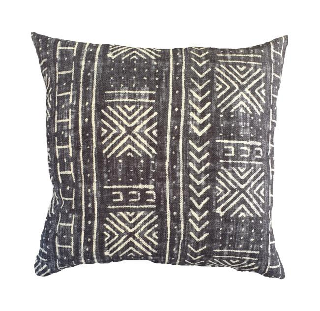Tribal Mud Cloth Black Indoor Cushion Cover