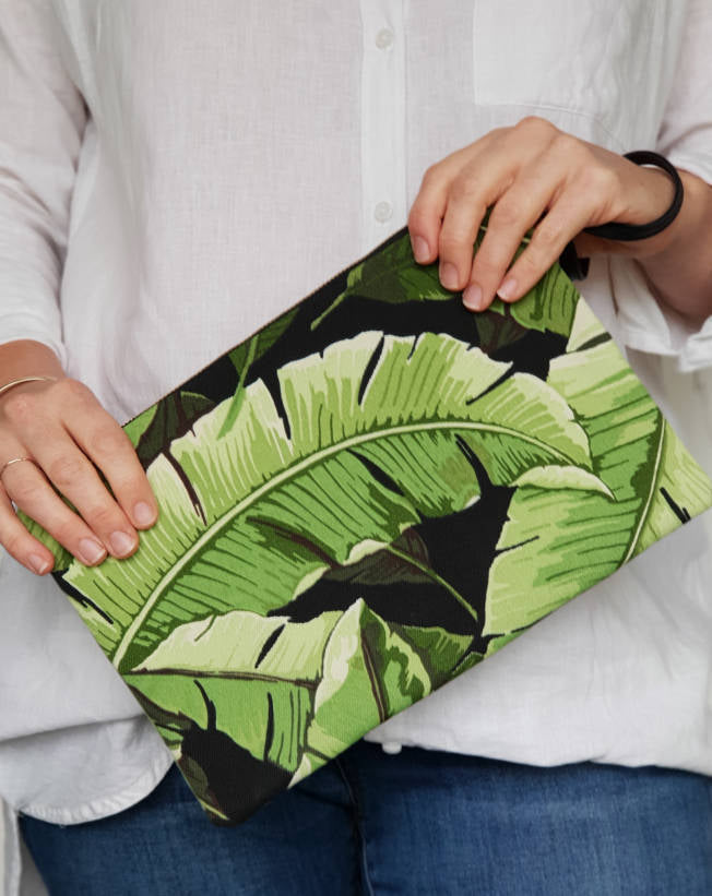 Tropical Leaf Fabric Clutch