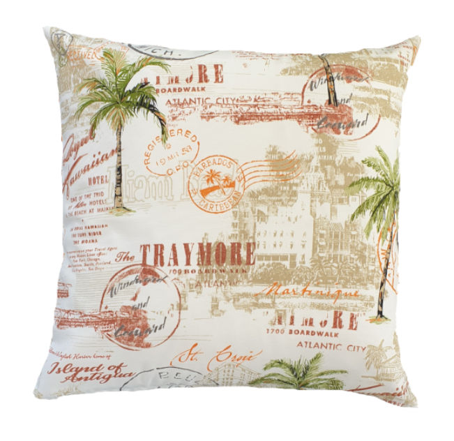 Post Card Palm Trees Outdoor Cushion Cover