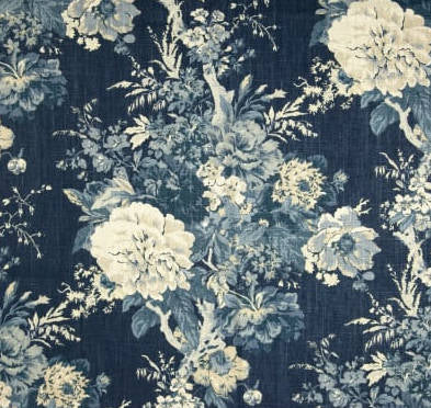 Waverly Ballad Bouquet Indigo Fabric