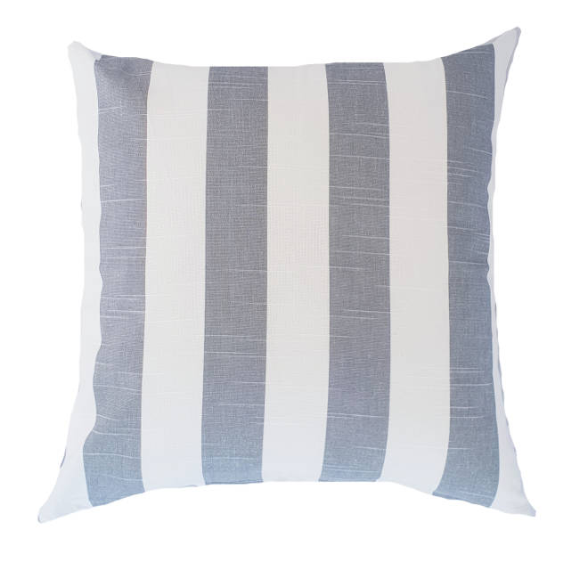 Grey and White Wide Stripe Hamptons Style Indoor Cushion Cover