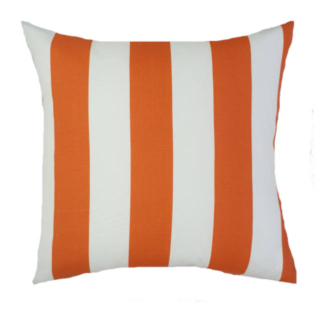 Orange and white wide stripe outdoor cushion cover