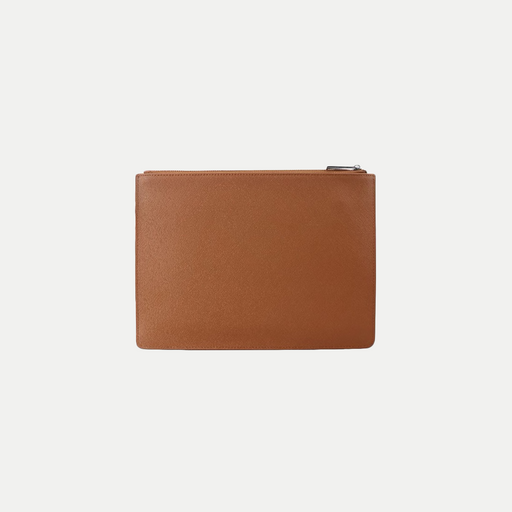 simple leather zip clutch