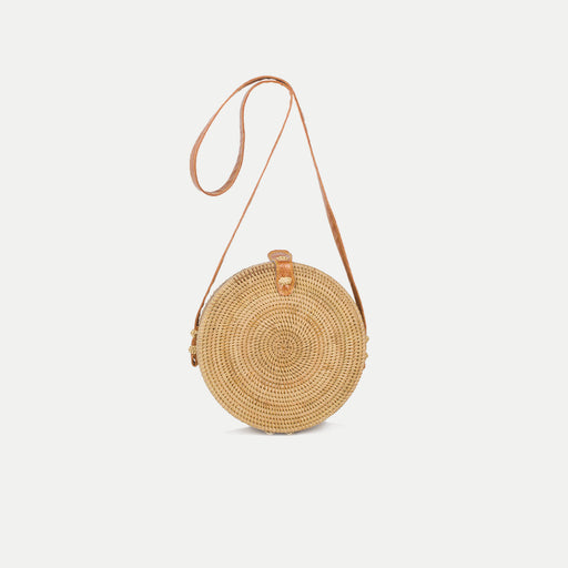 simple round rattan shoulder bag