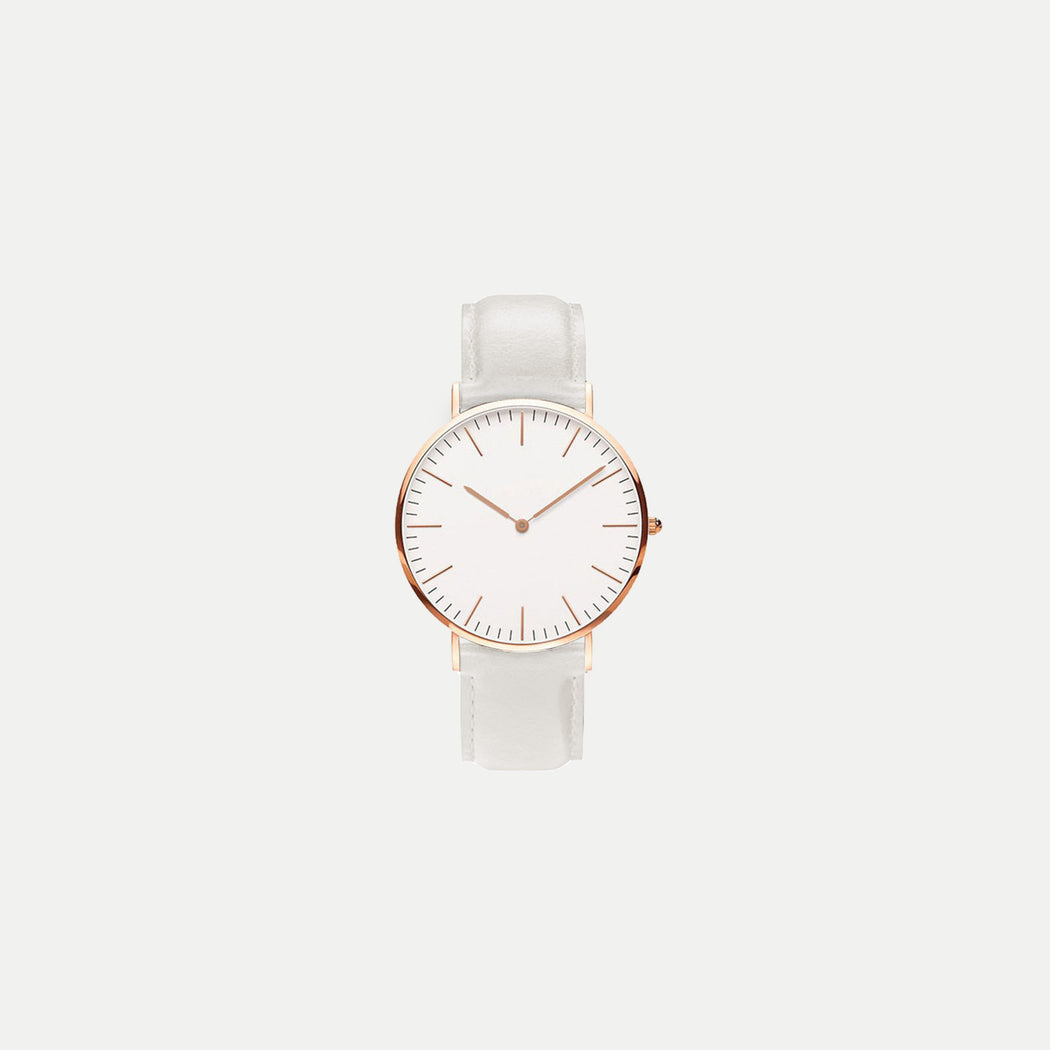 basic watch with white leather strap