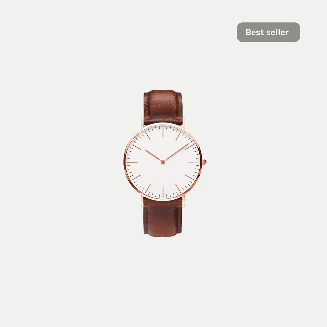 basic watch with leather strap