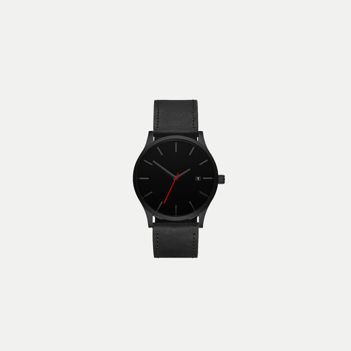 basic black case watch with leather strap