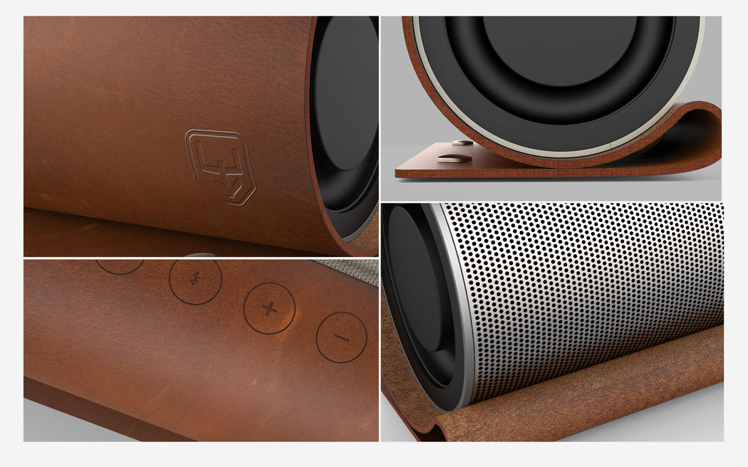 bluetooth wireless speaker stereo with leather cover