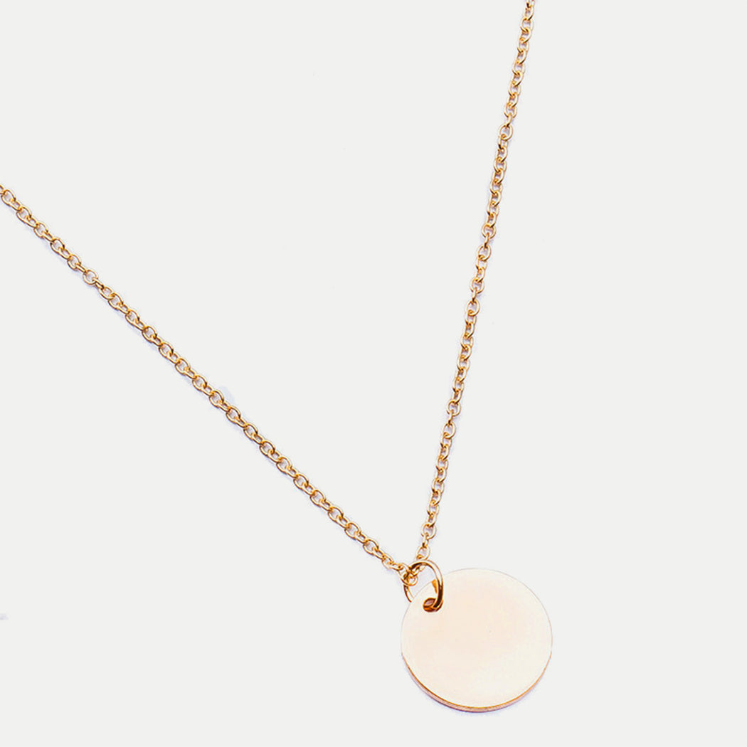 Simple round disc pendant necklace airisu simple round disc pendant necklace mozeypictures Image collections
