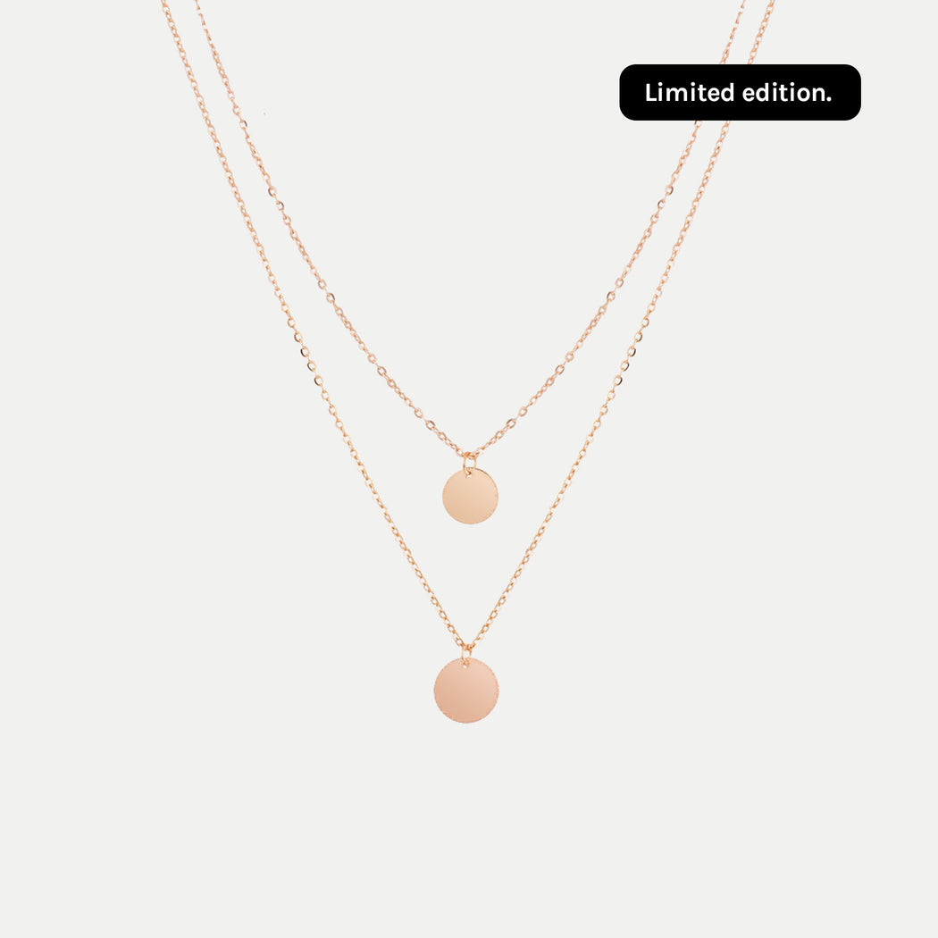 simple double layered round disc pendants necklace