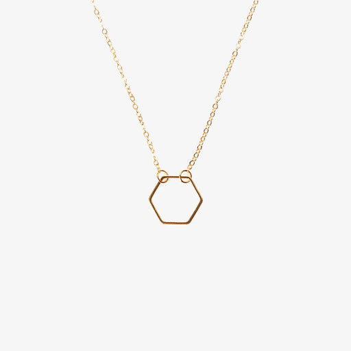 simple hexagon pendant necklace
