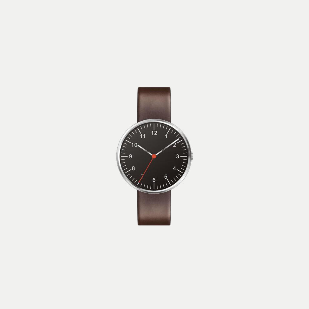 minimalist black face watch with leather strap