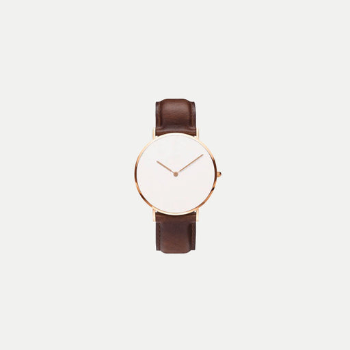 minimal watch with leather strap