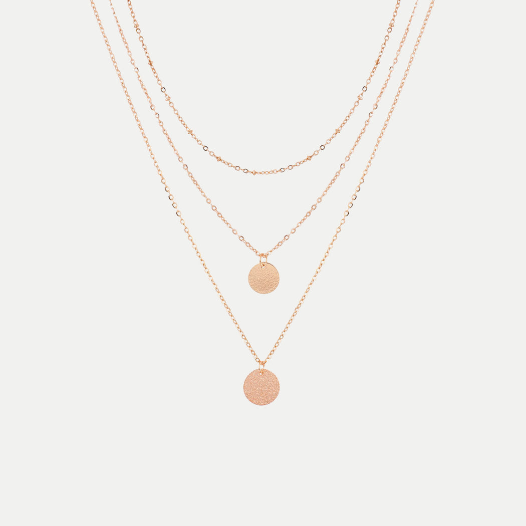 Simple multilayer round disc pendants necklace airisu simple multilayer round disc pendants necklace aloadofball Choice Image