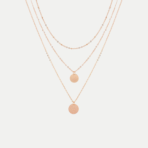 simple multilayer round disc pendants necklace