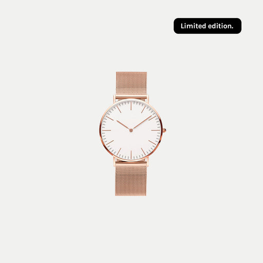 simple rose gold face watch with mesh strap : limited edition