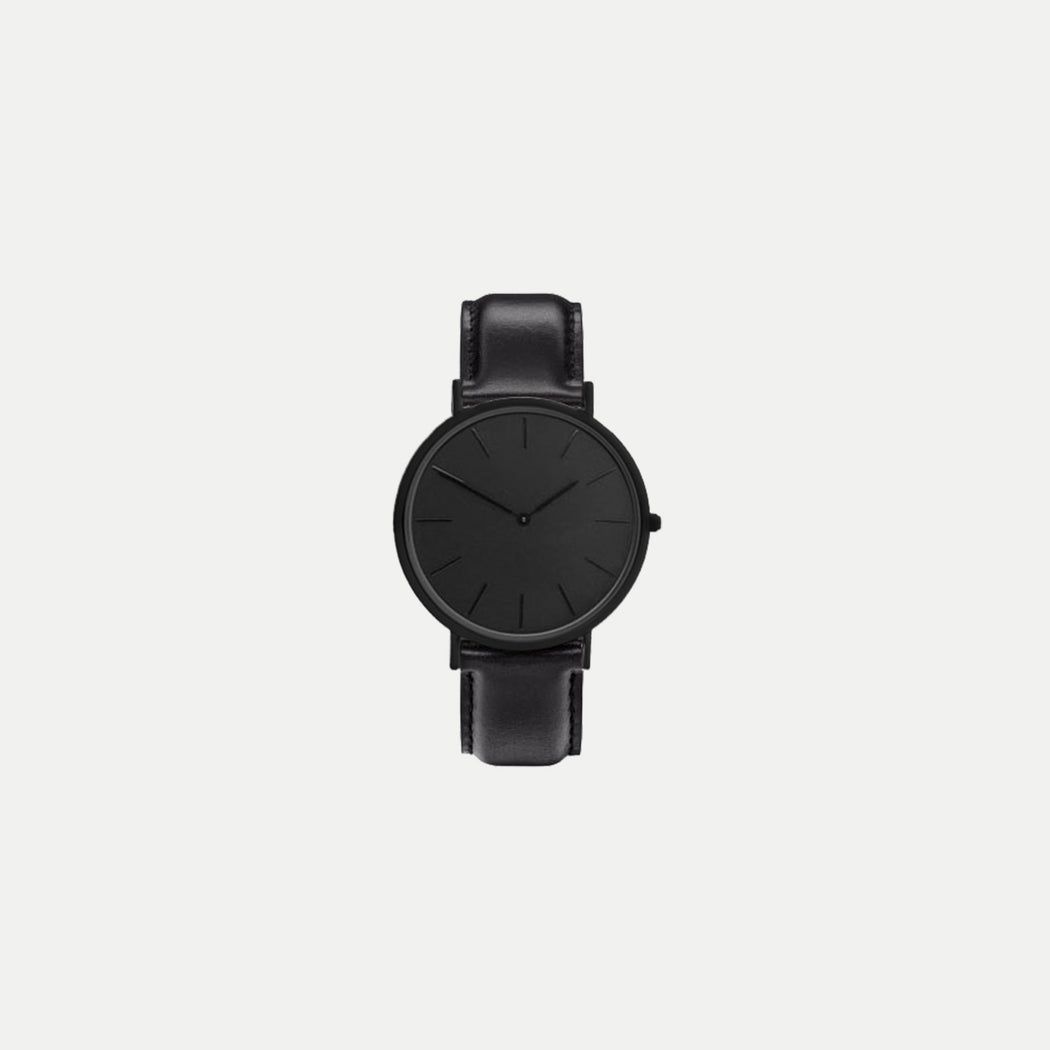 simple black face watch with leather strap season offer