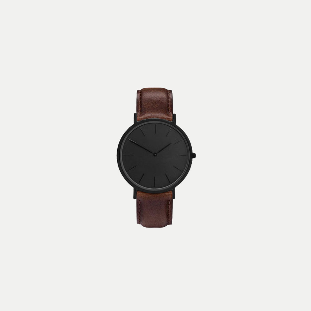 simple black face watch with leather strap