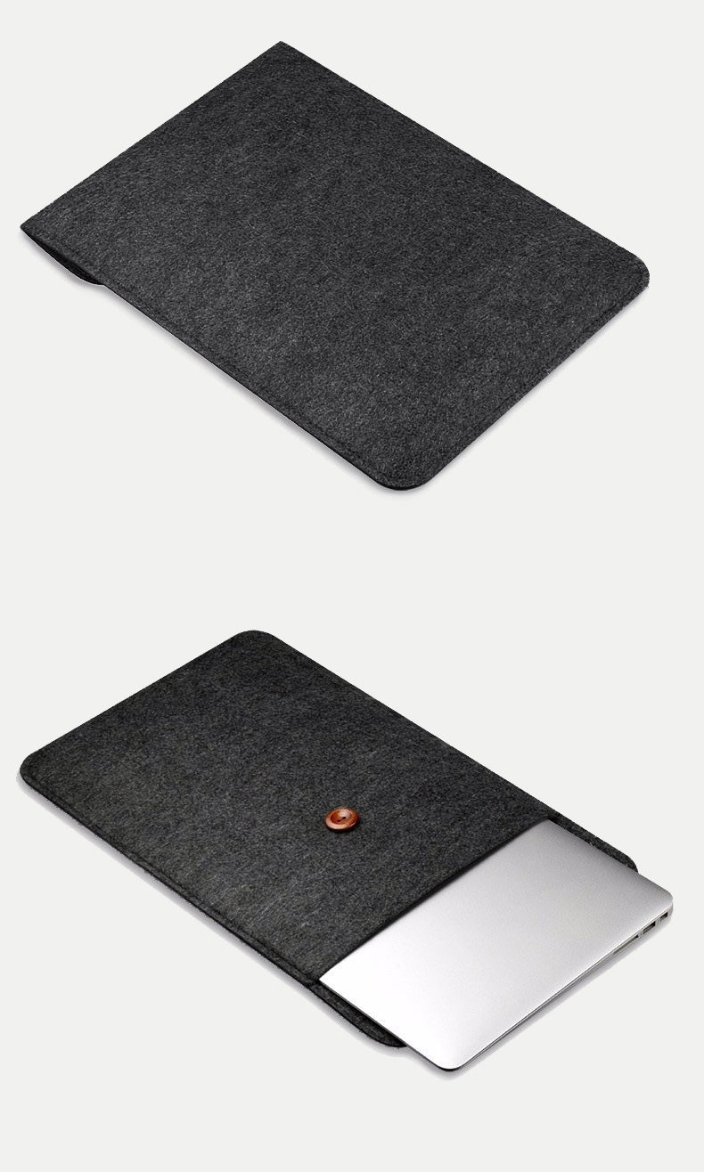 simple wool laptop sleeve with string and button