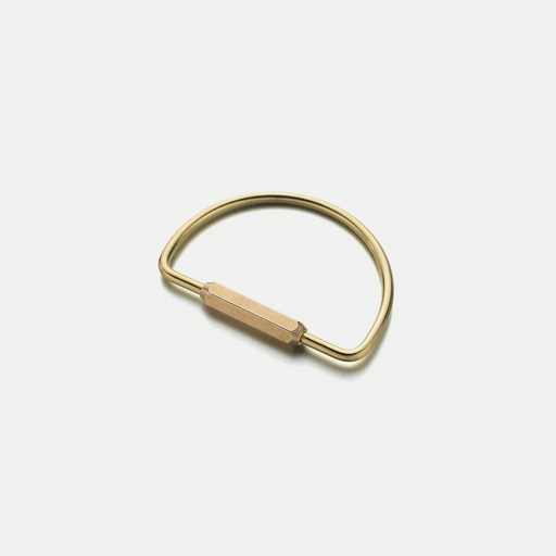 simple brass half circle keyring