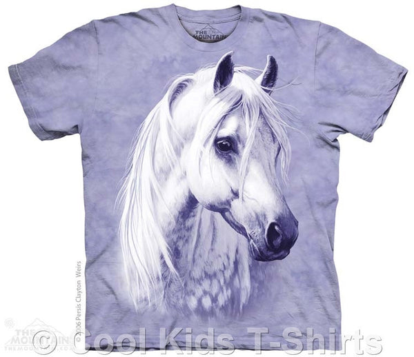Moon Shadow White Horse Kids Tie Dye T-Shirt